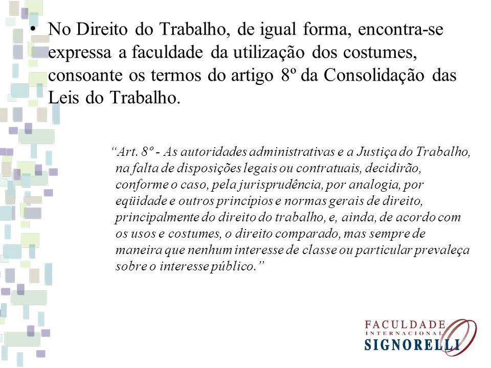 Os costumes admitem três espécies: Contrários à lei (contra legem) Conforme a lei (secundum legem) Além da lei (praeter legem) Os costumes contrários a lei não se aplicam no direito brasileiro.