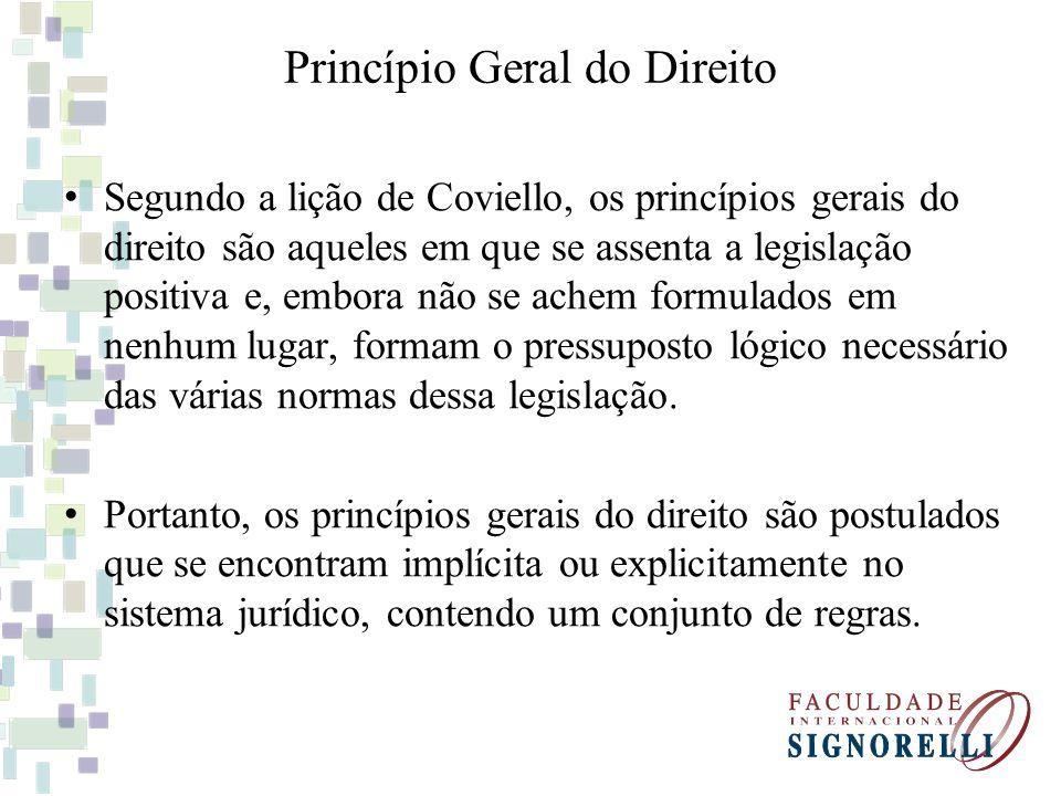 Princípio Geral do Direito Segundo a lição de Coviello, os princípios gerais do direito são aqueles em que se assenta a legislação positiva e, embora