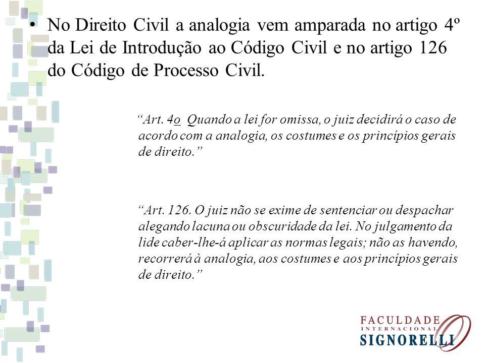 No Direito Civil a analogia vem amparada no artigo 4º da Lei de Introdução ao Código Civil e no artigo 126 do Código de Processo Civil. Art. 4o Quando