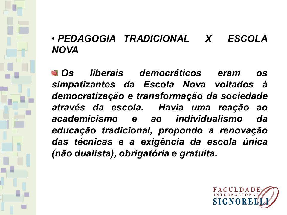 PEDAGOGIA TRADICIONAL X ESCOLA NOVA Os liberais democráticos eram os simpatizantes da Escola Nova voltados à democratização e transformação da socieda