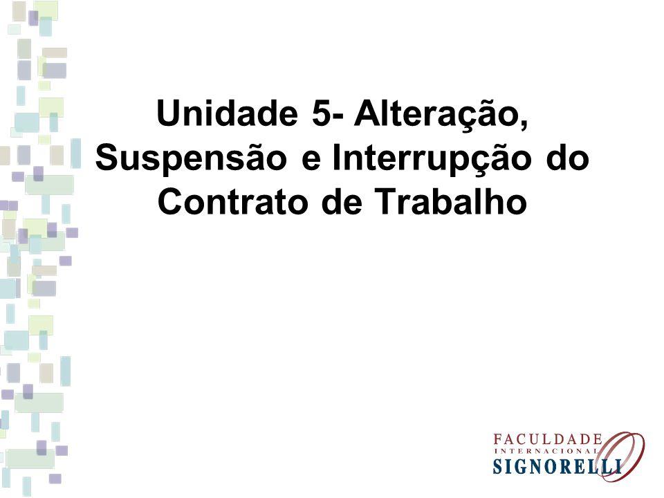 Unidade 5- Alteração, Suspensão e Interrupção do Contrato de Trabalho