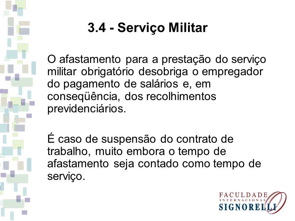 3.4 - Serviço Militar O afastamento para a prestação do serviço militar obrigatório desobriga o empregador do pagamento de salários e, em conseqüência, dos recolhimentos previdenciários.