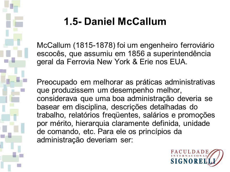 McCallum (1815-1878) foi um engenheiro ferroviário escocês, que assumiu em 1856 a superintendência geral da Ferrovia New York & Erie nos EUA. Preocupa