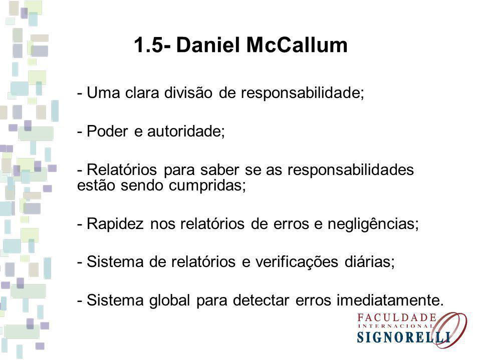 1.5- Daniel McCallum - Uma clara divisão de responsabilidade; - Poder e autoridade; - Relatórios para saber se as responsabilidades estão sendo cumpri