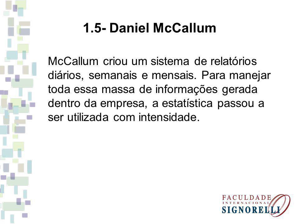 1.5- Daniel McCallum McCallum criou um sistema de relatórios diários, semanais e mensais. Para manejar toda essa massa de informações gerada dentro da