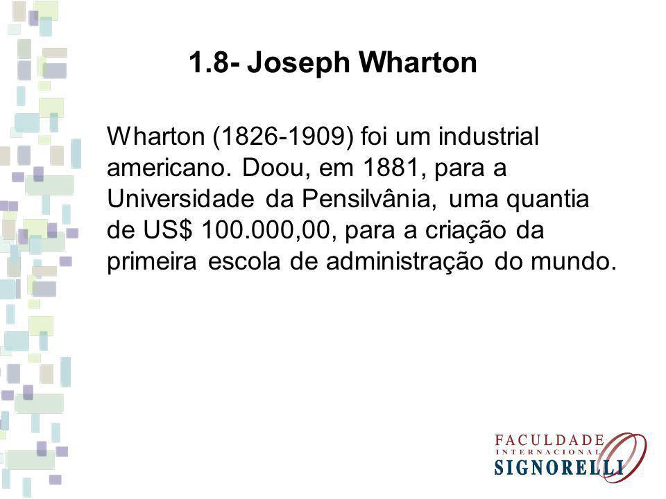 Wharton (1826-1909) foi um industrial americano. Doou, em 1881, para a Universidade da Pensilvânia, uma quantia de US$ 100.000,00, para a criação da p