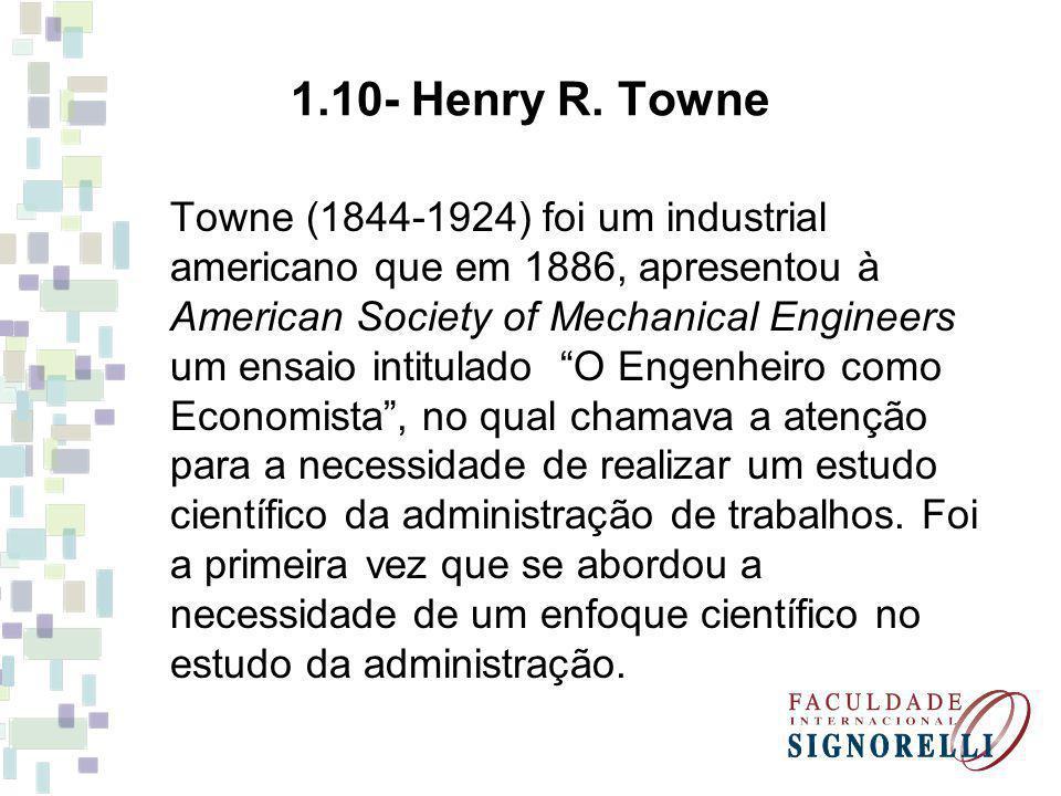 Towne (1844-1924) foi um industrial americano que em 1886, apresentou à American Society of Mechanical Engineers um ensaio intitulado O Engenheiro com