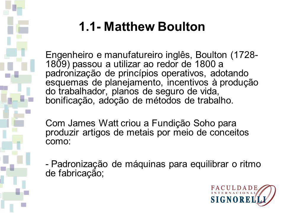 Engenheiro e manufatureiro inglês, Boulton (1728- 1809) passou a utilizar ao redor de 1800 a padronização de princípios operativos, adotando esquemas