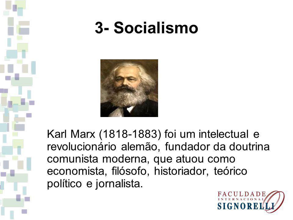 3- Socialismo Karl Marx (1818-1883) foi um intelectual e revolucionário alemão, fundador da doutrina comunista moderna, que atuou como economista, fil