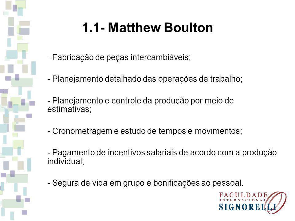 1.1- Matthew Boulton - Fabricação de peças intercambiáveis; - Planejamento detalhado das operações de trabalho; - Planejamento e controle da produção