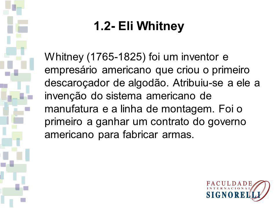 Whitney (1765-1825) foi um inventor e empresário americano que criou o primeiro descaroçador de algodão. Atribuiu-se a ele a invenção do sistema ameri