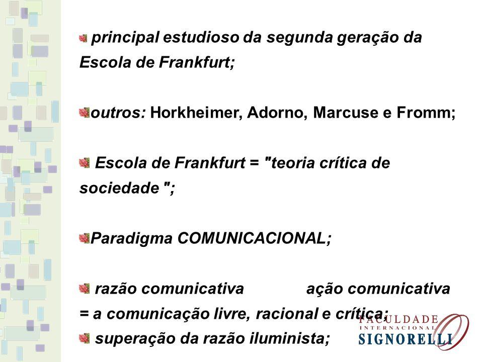 principal estudioso da segunda geração da Escola de Frankfurt; outros: Horkheimer, Adorno, Marcuse e Fromm; Escola de Frankfurt =