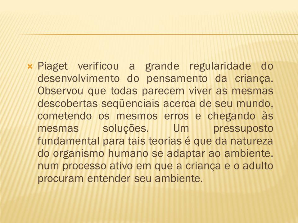 Piaget verificou a grande regularidade do desenvolvimento do pensamento da criança.