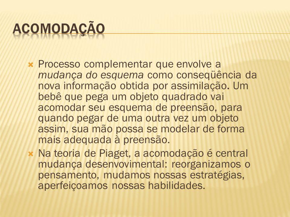 Processo complementar que envolve a mudança do esquema como conseqüência da nova informação obtida por assimilação.