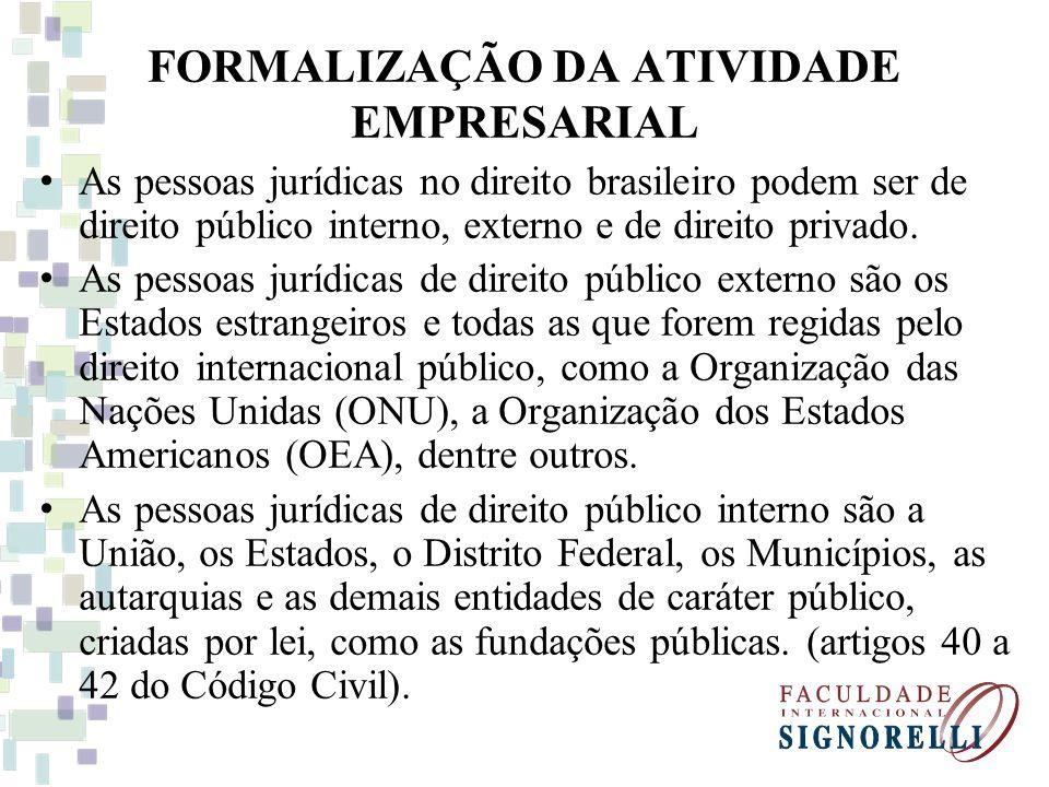 FORMALIZAÇÃO DA ATIVIDADE EMPRESARIAL As pessoas jurídicas no direito brasileiro podem ser de direito público interno, externo e de direito privado. A
