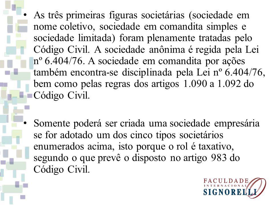 As três primeiras figuras societárias (sociedade em nome coletivo, sociedade em comandita simples e sociedade limitada) foram plenamente tratadas pelo