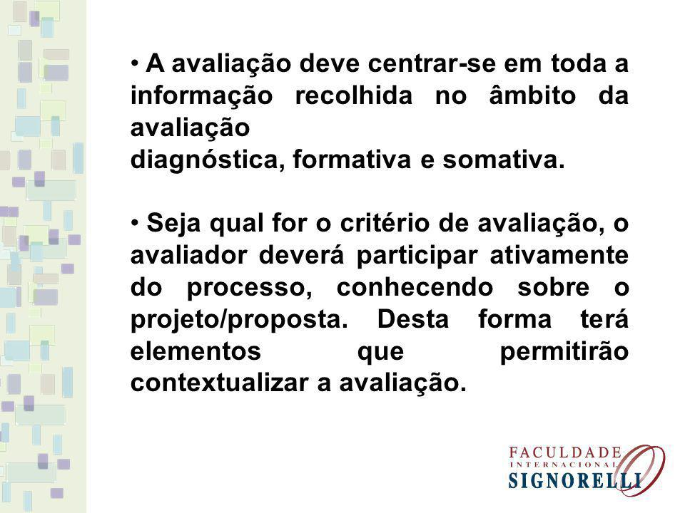 A avaliação deve centrar-se em toda a informação recolhida no âmbito da avaliação diagnóstica, formativa e somativa. Seja qual for o critério de avali