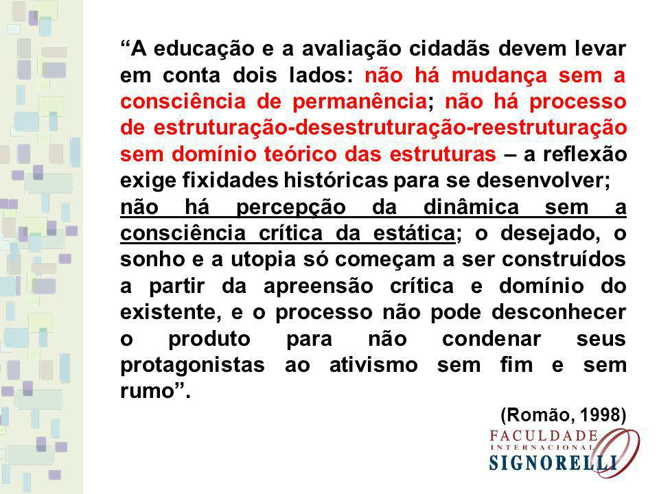 A educação e a avaliação cidadãs devem levar em conta dois lados: não há mudança sem a consciência de permanência; não há processo de estruturação-des