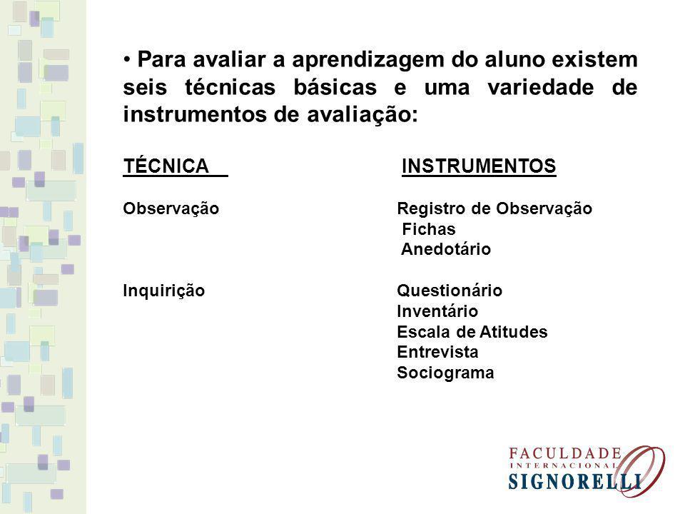 Para avaliar a aprendizagem do aluno existem seis técnicas básicas e uma variedade de instrumentos de avaliação: TÉCNICA INSTRUMENTOS Observação Regis