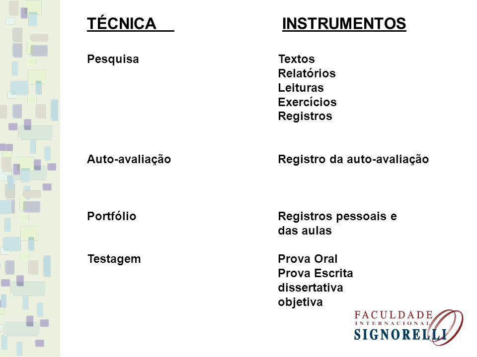 TÉCNICA INSTRUMENTOS PesquisaTextos Relatórios Leituras Exercícios Registros Auto-avaliação Registro da auto-avaliação Portfólio Registros pessoais e