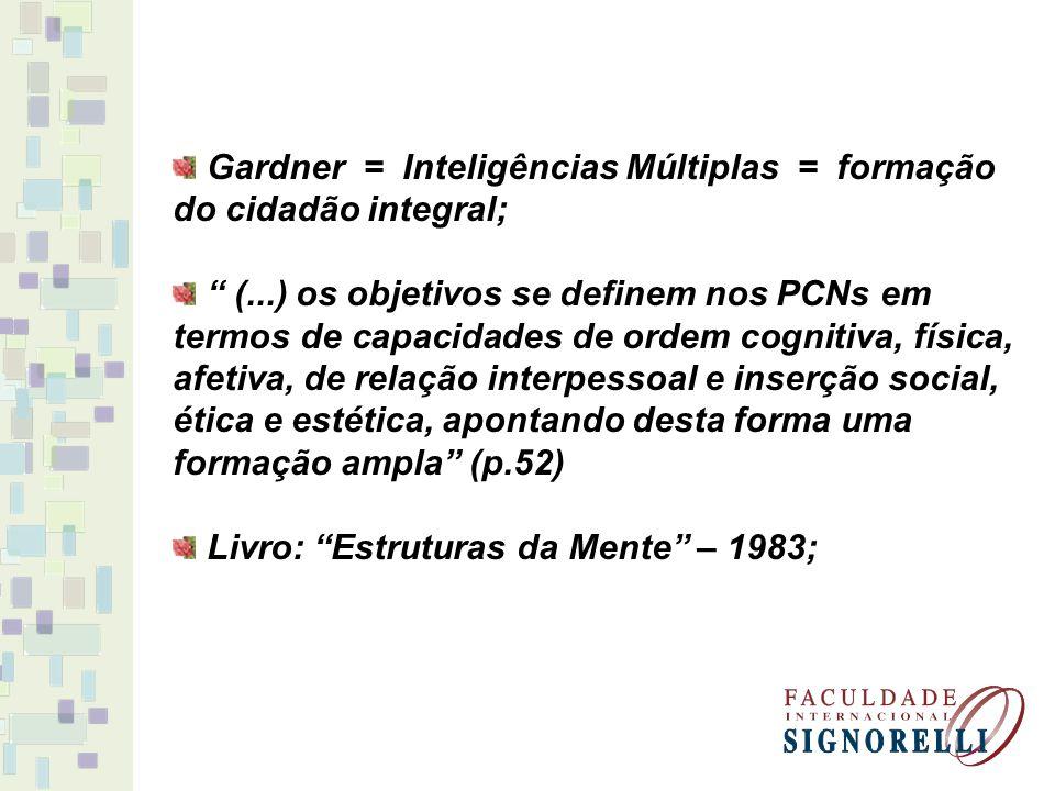 Gardner = Inteligências Múltiplas = formação do cidadão integral; (...) os objetivos se definem nos PCNs em termos de capacidades de ordem cognitiva,