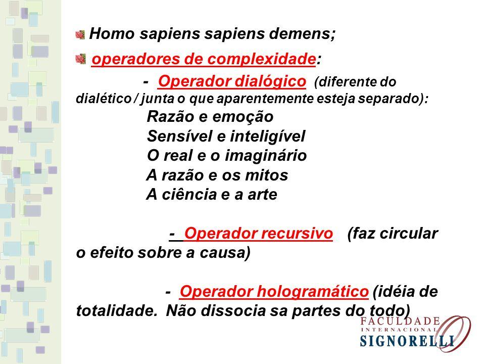 Homo sapiens sapiens demens; operadores de complexidade: - Operador dialógico (diferente do dialético / junta o que aparentemente esteja separado): Ra