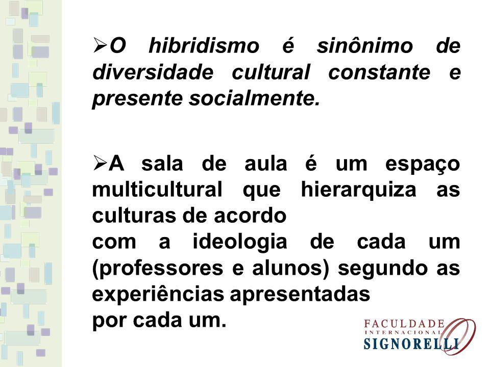 O hibridismo é sinônimo de diversidade cultural constante e presente socialmente. A sala de aula é um espaço multicultural que hierarquiza as culturas