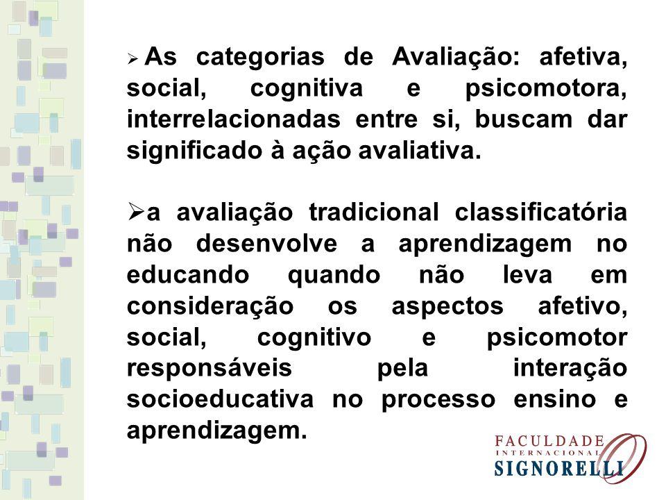 As categorias de Avaliação: afetiva, social, cognitiva e psicomotora, interrelacionadas entre si, buscam dar significado à ação avaliativa. a avaliaçã