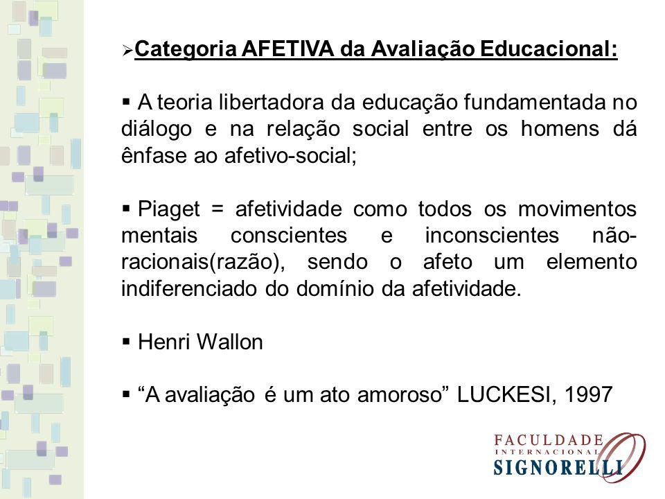 Categoria AFETIVA da Avaliação Educacional: A teoria libertadora da educação fundamentada no diálogo e na relação social entre os homens dá ênfase ao