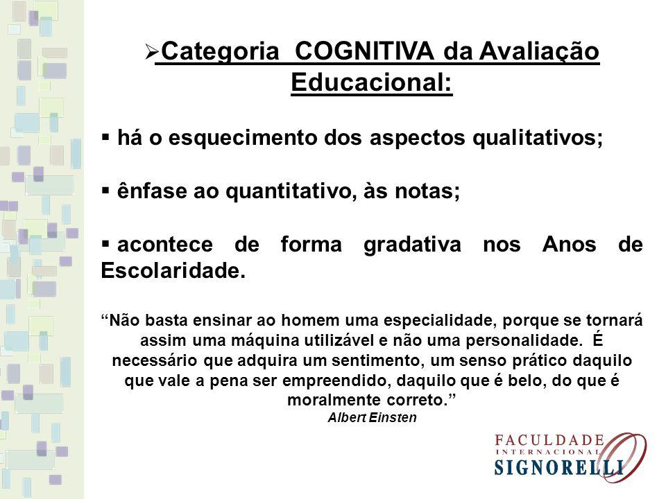 Categoria COGNITIVA da Avaliação Educacional: há o esquecimento dos aspectos qualitativos; ênfase ao quantitativo, às notas; acontece de forma gradati