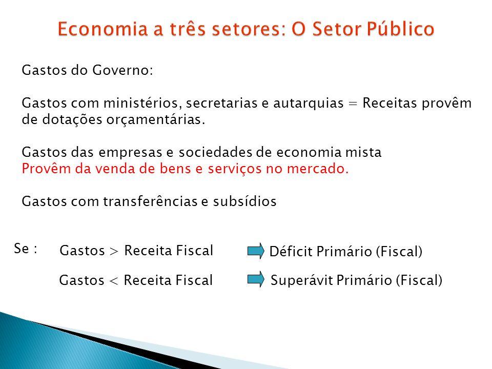 Gastos do Governo: Gastos com ministérios, secretarias e autarquias = Receitas provêm de dotações orçamentárias. Gastos das empresas e sociedades de e