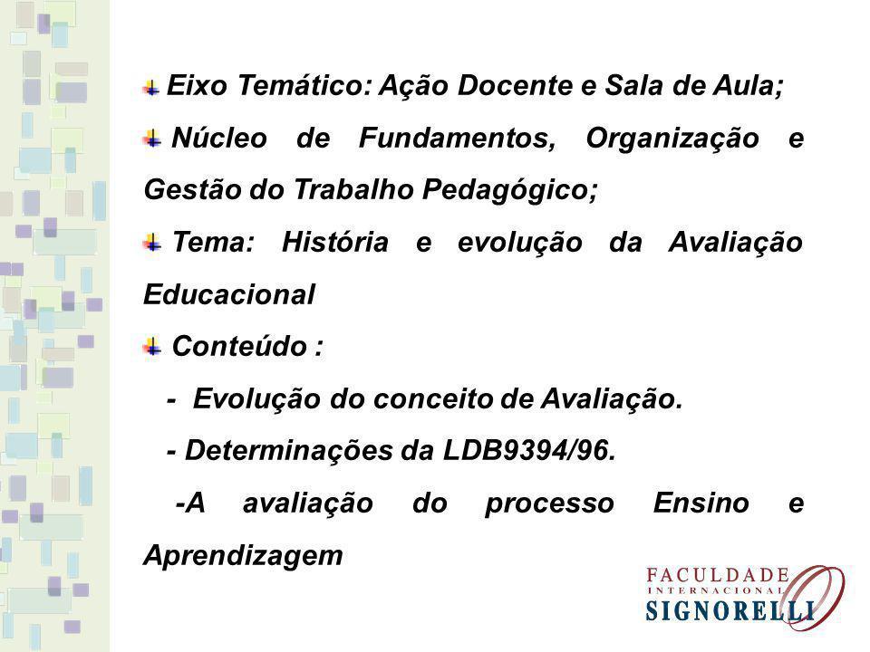 Eixo Temático: Ação Docente e Sala de Aula; Núcleo de Fundamentos, Organização e Gestão do Trabalho Pedagógico; Tema: História e evolução da Avaliação
