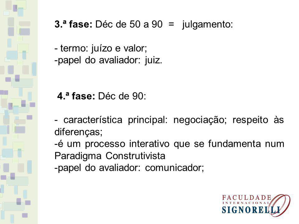 3.ª fase: Déc de 50 a 90 = julgamento: - termo: juízo e valor; -papel do avaliador: juiz. 4.ª fase: Déc de 90: - característica principal: negociação;