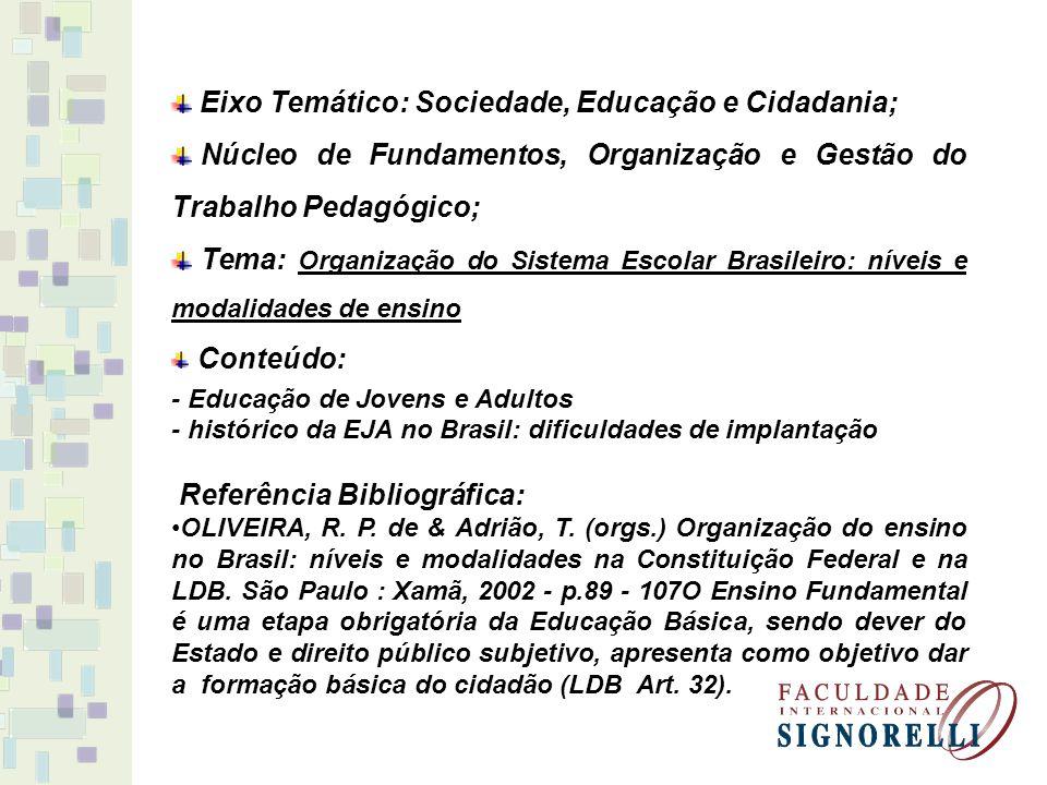 Eixo Temático: Sociedade, Educação e Cidadania; Núcleo de Fundamentos, Organização e Gestão do Trabalho Pedagógico; Tema: Organização do Sistema Escol