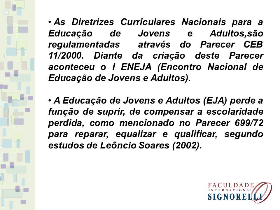 As Diretrizes Curriculares Nacionais para a Educação de Jovens e Adultos,são regulamentadas através do Parecer CEB 11/2000. Diante da criação deste Pa