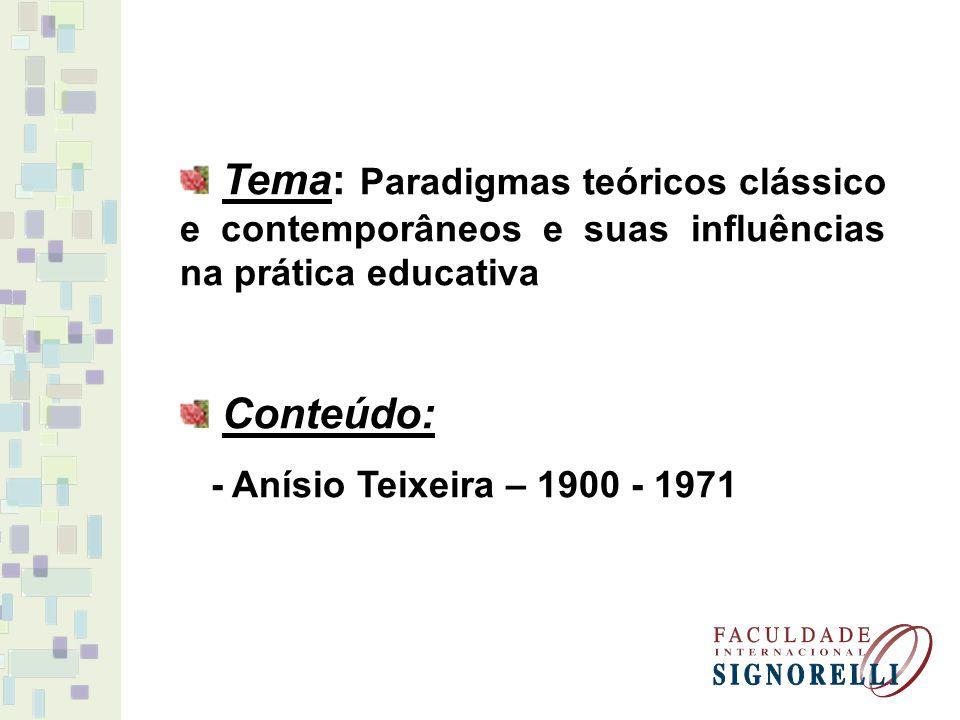 Tema: Paradigmas teóricos clássico e contemporâneos e suas influências na prática educativa Conteúdo: - Anísio Teixeira – 1900 - 1971