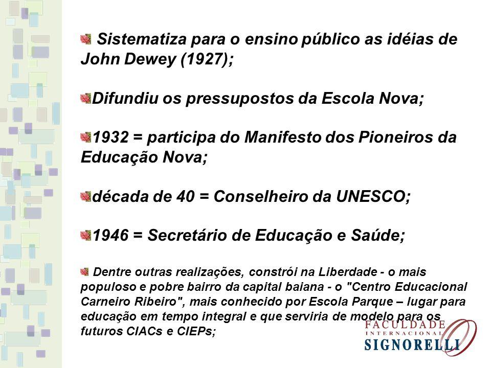 Sistematiza para o ensino público as idéias de John Dewey (1927); Difundiu os pressupostos da Escola Nova; 1932 = participa do Manifesto dos Pioneiros