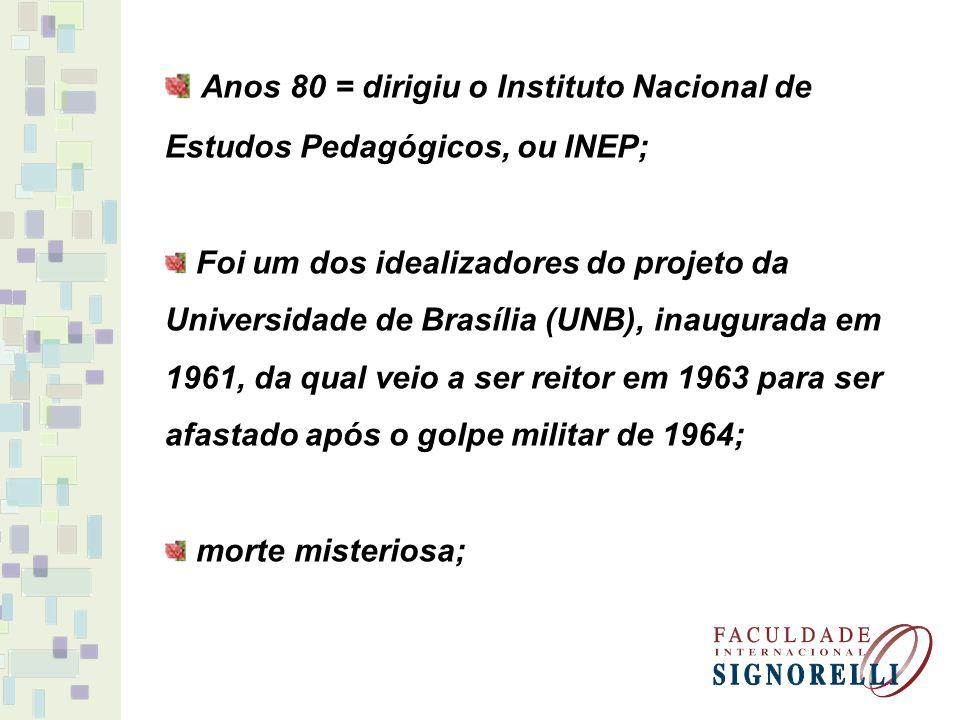 Anos 80 = dirigiu o Instituto Nacional de Estudos Pedagógicos, ou INEP; Foi um dos idealizadores do projeto da Universidade de Brasília (UNB), inaugur