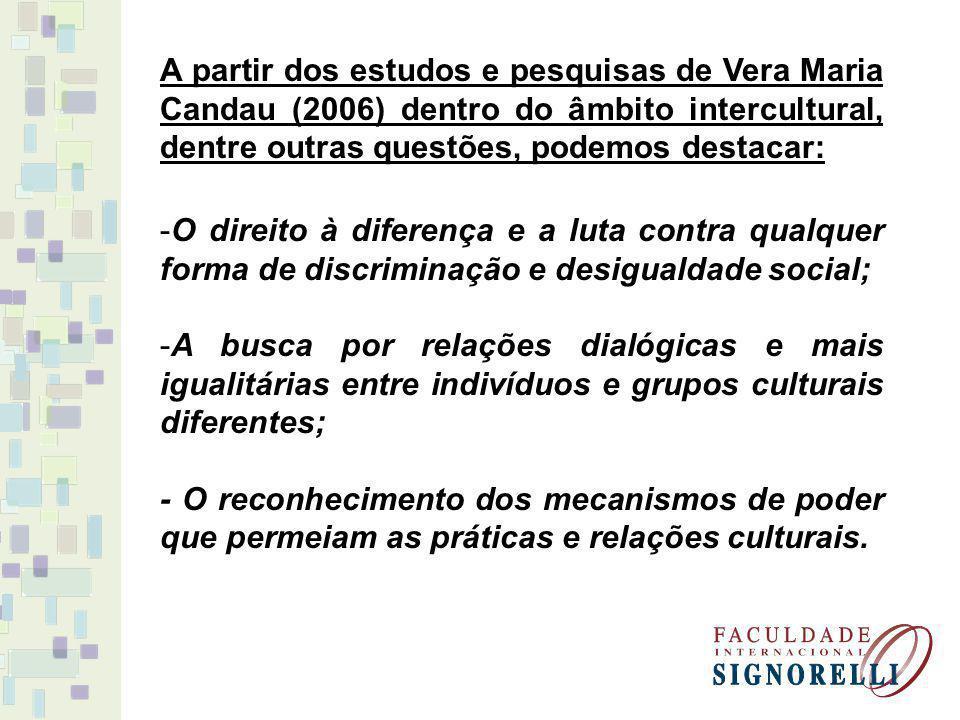A partir dos estudos e pesquisas de Vera Maria Candau (2006) dentro do âmbito intercultural, dentre outras questões, podemos destacar: -O direito à diferença e a luta contra qualquer forma de discriminação e desigualdade social; -A busca por relações dialógicas e mais igualitárias entre indivíduos e grupos culturais diferentes; - O reconhecimento dos mecanismos de poder que permeiam as práticas e relações culturais.