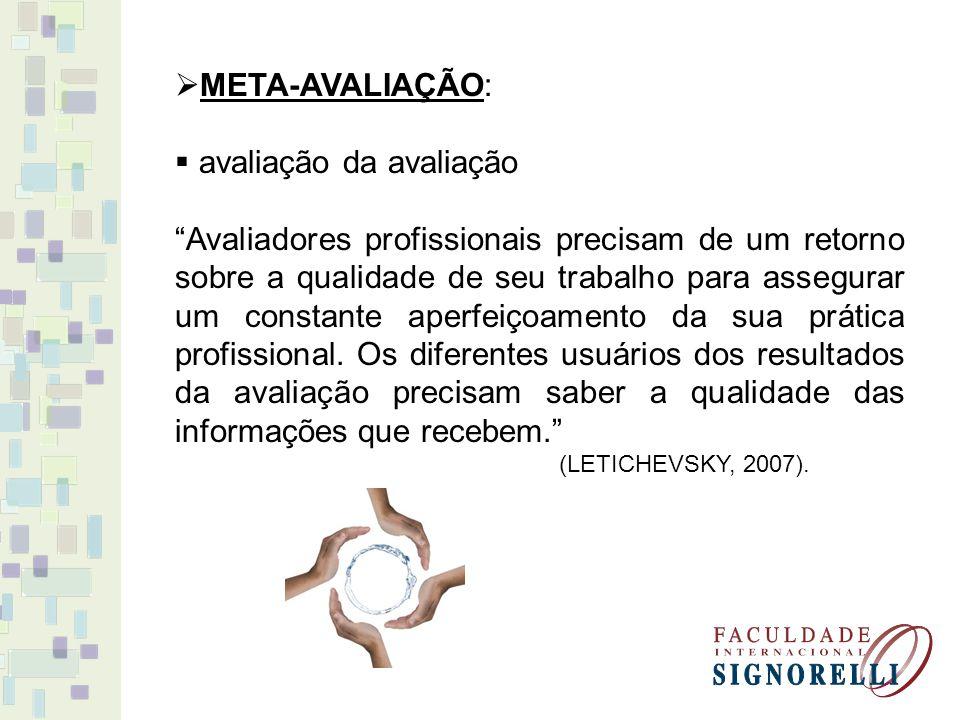 META-AVALIAÇÃO: avaliação da avaliação Avaliadores profissionais precisam de um retorno sobre a qualidade de seu trabalho para assegurar um constante