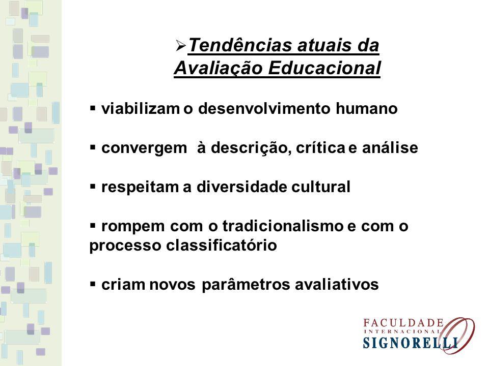 Tendências atuais da Avaliação Educacional viabilizam o desenvolvimento humano convergem à descrição, crítica e análise respeitam a diversidade cultur