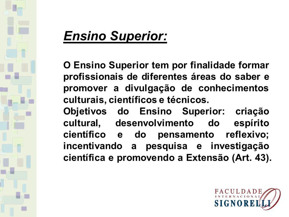 Ensino Superior: O Ensino Superior tem por finalidade formar profissionais de diferentes áreas do saber e promover a divulgação de conhecimentos cultu