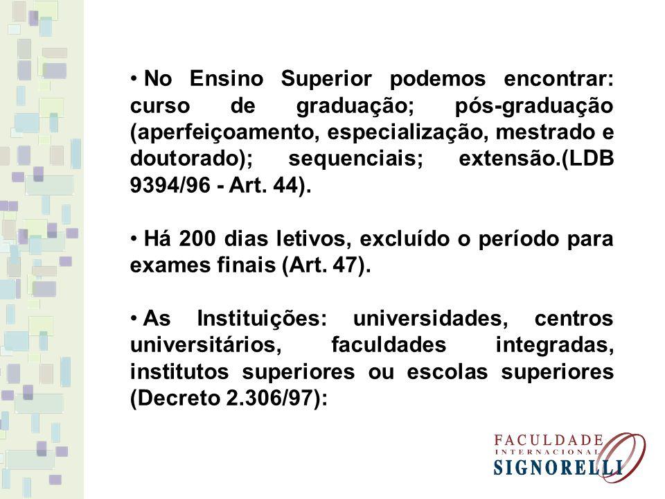 No Ensino Superior podemos encontrar: curso de graduação; pós-graduação (aperfeiçoamento, especialização, mestrado e doutorado); sequenciais; extensão