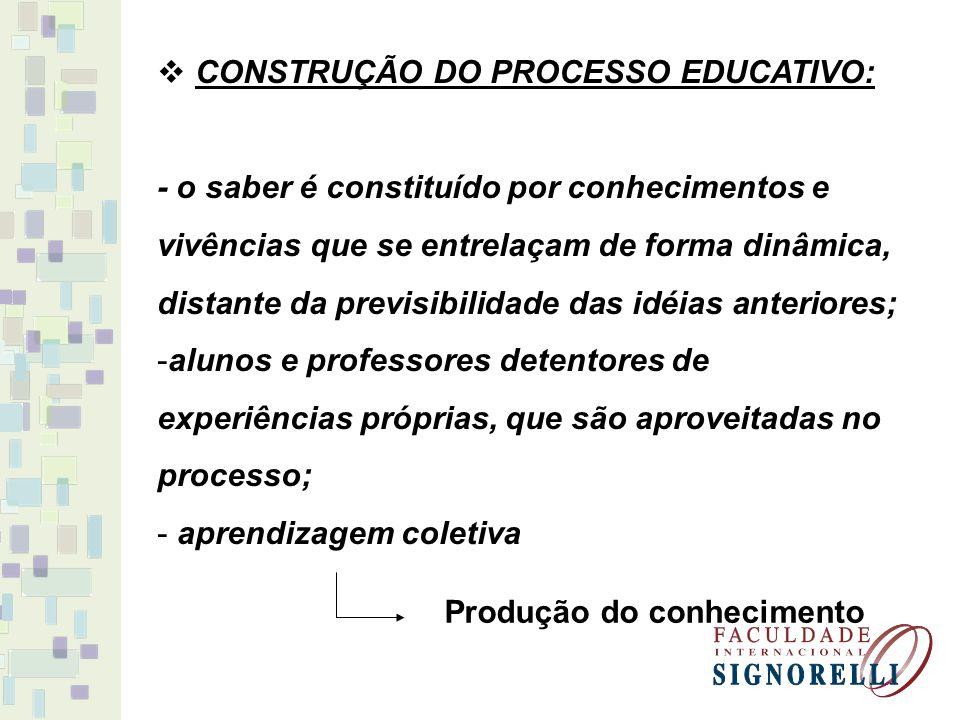 CONSTRUÇÃO DO PROCESSO EDUCATIVO: - o saber é constituído por conhecimentos e vivências que se entrelaçam de forma dinâmica, distante da previsibilida