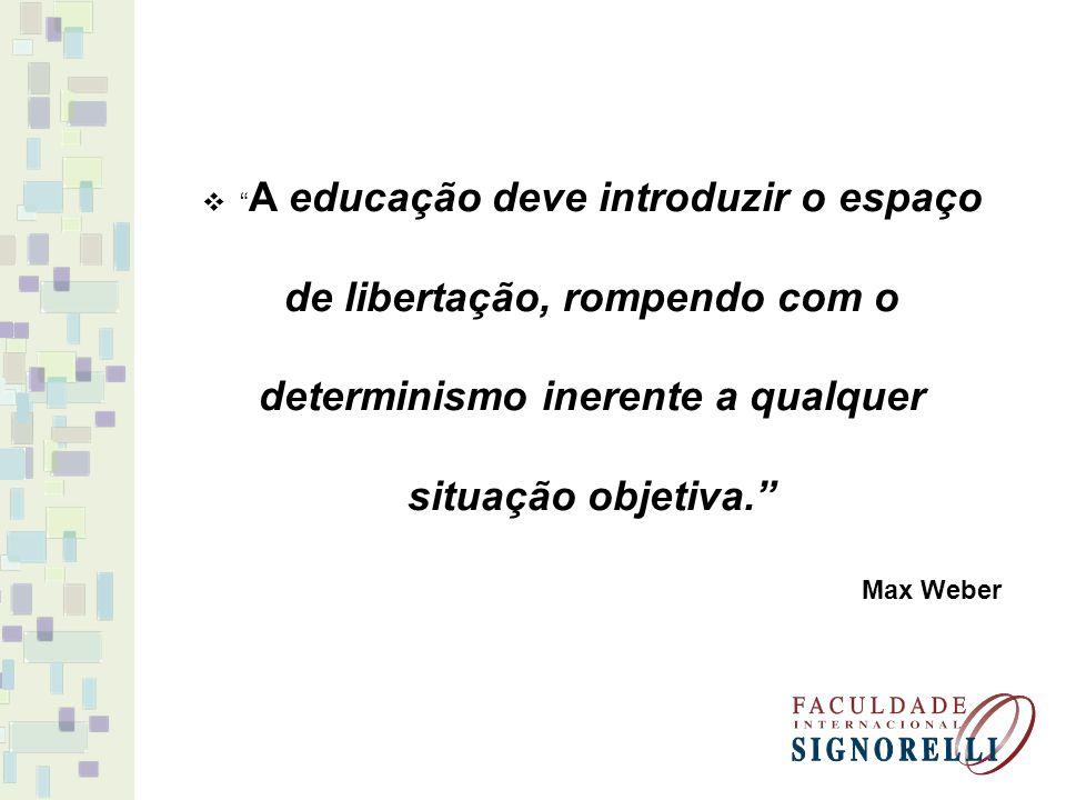 A educação deve introduzir o espaço de libertação, rompendo com o determinismo inerente a qualquer situação objetiva. Max Weber