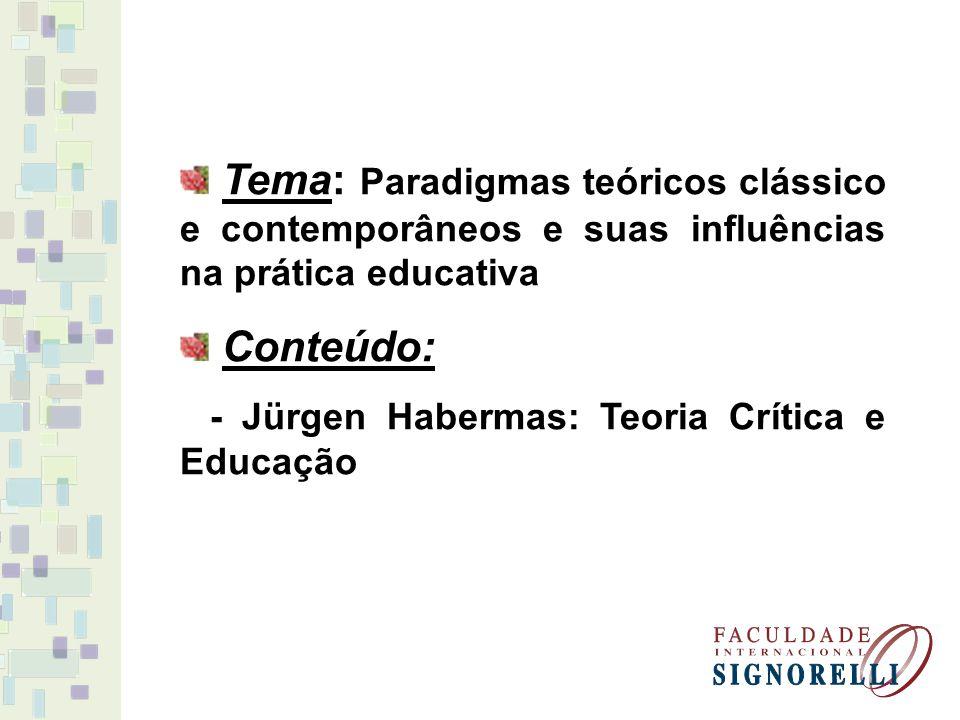 Tema: Paradigmas teóricos clássico e contemporâneos e suas influências na prática educativa Conteúdo: - Jürgen Habermas: Teoria Crítica e Educação