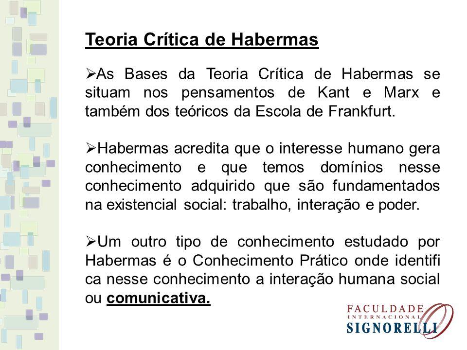 Teoria Crítica de Habermas As Bases da Teoria Crítica de Habermas se situam nos pensamentos de Kant e Marx e também dos teóricos da Escola de Frankfurt.