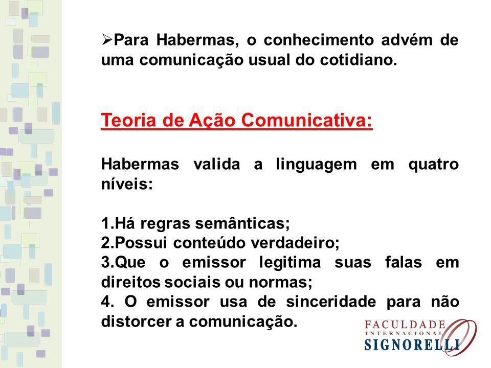 Para Habermas, o conhecimento advém de uma comunicação usual do cotidiano. Teoria de Ação Comunicativa: Habermas valida a linguagem em quatro níveis: