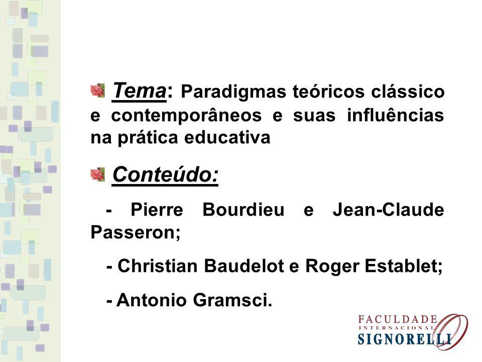 Tema: Paradigmas teóricos clássico e contemporâneos e suas influências na prática educativa Conteúdo: - Pierre Bourdieu e Jean-Claude Passeron; - Chri