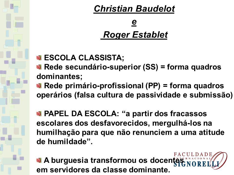 Christian Baudelot e Roger Establet ESCOLA CLASSISTA; Rede secundário-superior (SS) = forma quadros dominantes; Rede primário-profissional (PP) = form